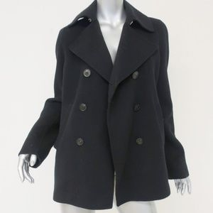 Vince Peacoat Black Wool-Blend Double Breasted